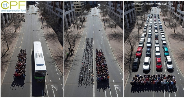 Space taken by  69 bicycles vs 60 cars